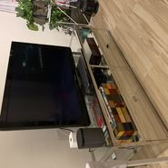 Silver TV Stand with Two Drawers